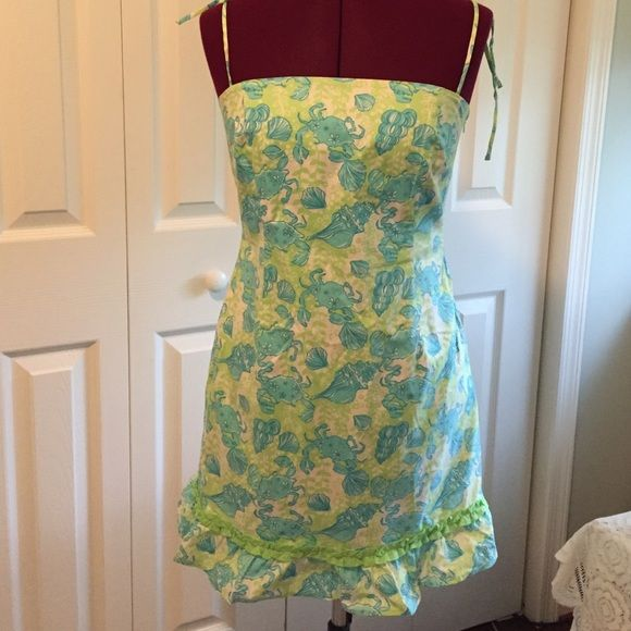 Sale today only Lily Pultzer dress LILLY PULITZER DRESS Size 4 Palm Green Chillin' Cocktail Sun dress Lilly Pulitzer Dresses