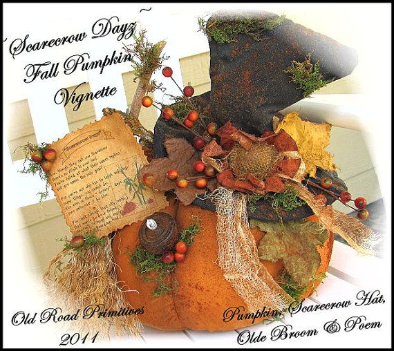 Scarecrow Dayz Fall Pumpkin Vignette Instant by OldRoadPrimitives, $7.95