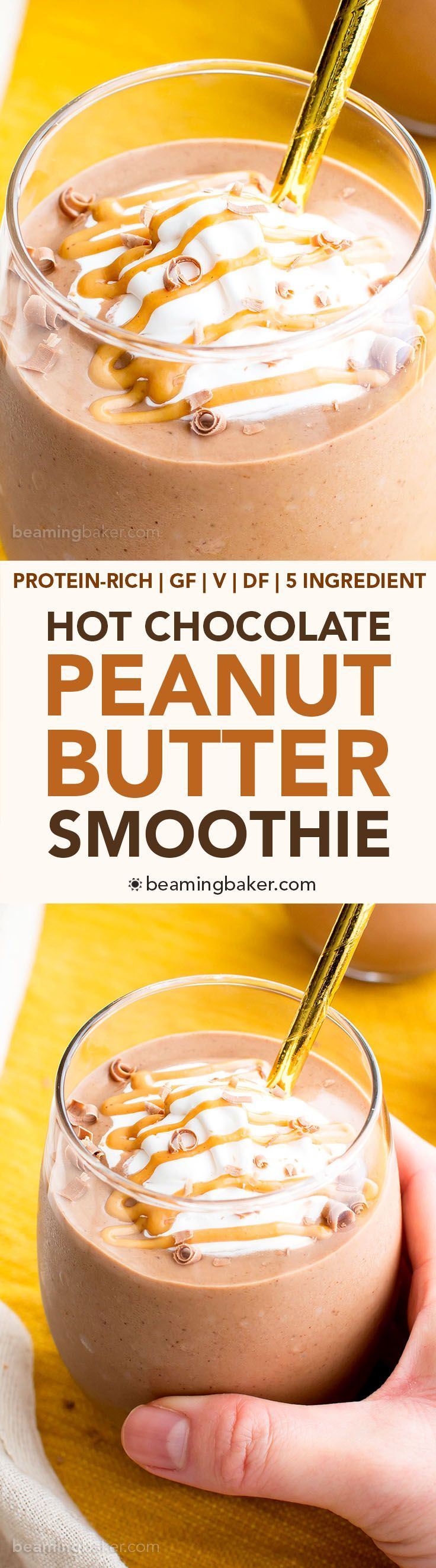 Peanut Butter Hot Chocolate Smoothie (Vegan, Gluten Free, Protein-Packed, Dairy-Free) - Beaming Baker