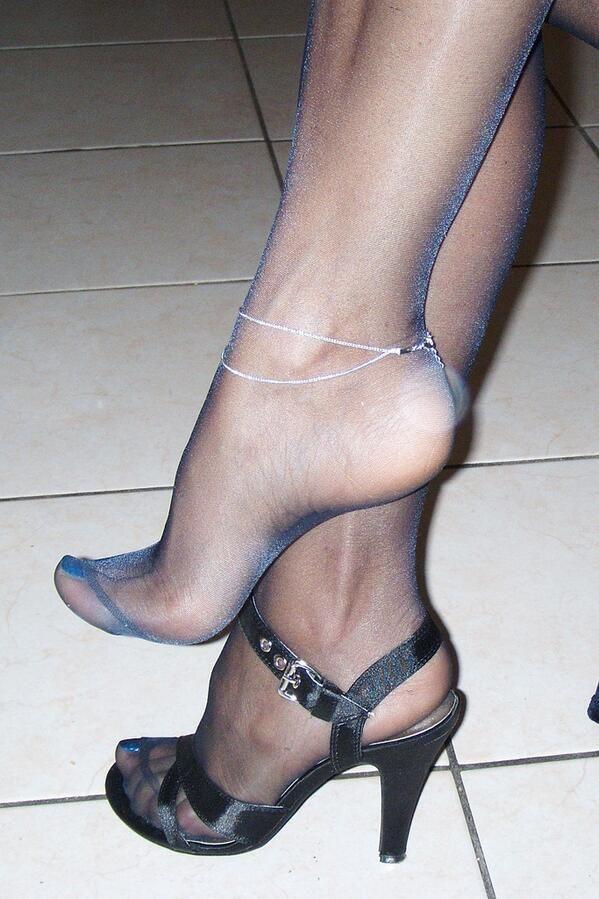 Bbw encased foot nylon nice