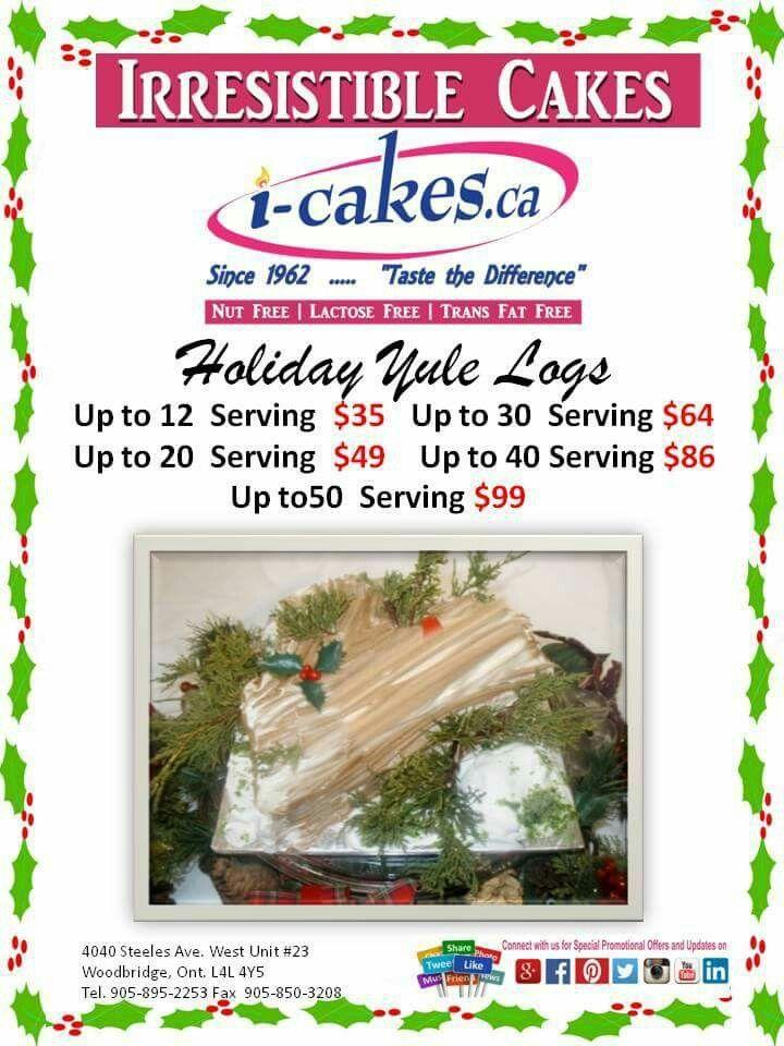 Order your Christmas Cakes , Yule Logs Now and receive 15% Discount!  #christmascakes #cake #cakes #icakes #irresistiblecakes #nutfreecake #lactosefreecake #caketoronto #yulelogs #logscake #yulecake