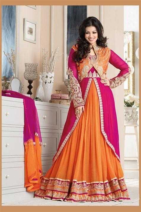 Graceful Ayesha Takia Deep pink, Orange Georgette Heavy Embroidered Long  Anarkali Suit