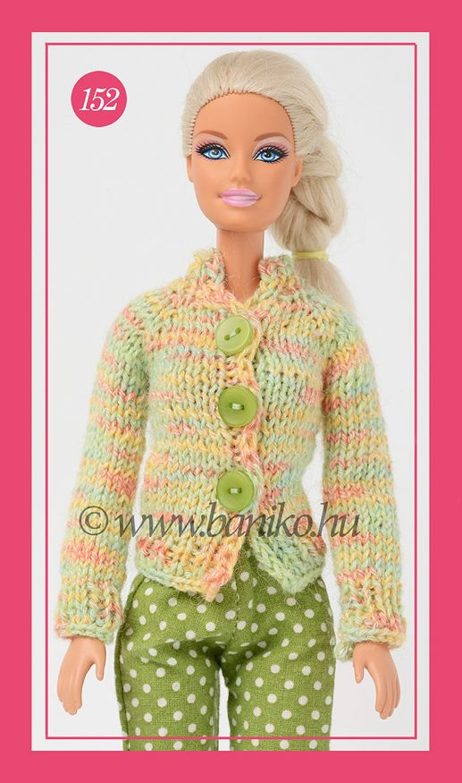 Zöld-cirmos kötött Barbie kardigán