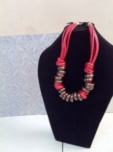 Red of the ring. Leather necklace. IDR 75.000