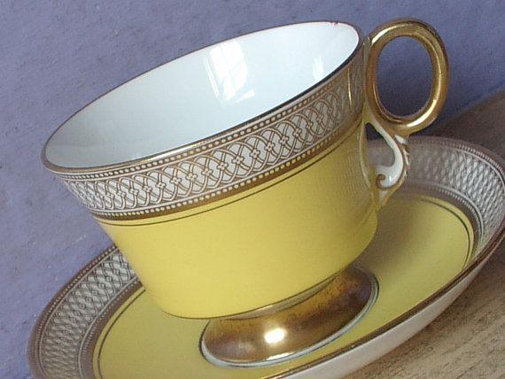 Vintage 1950's Mid Century Modern teacup and saucer, Adderley English tea cup, Yellow tea cup, art deco teacup, Bone china teacup