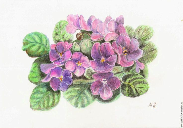 Купить Фиалки - фиолетовый, фиалки, цветы, цветные сны, весна, сенполия, букет, любовь
