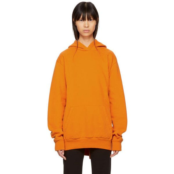 MM6 Maison Margiela Orange Heavy Brushed Hoodie ($445) ❤ liked on Polyvore featuring tops, hoodies, orange, hooded sweatshirt, mm6 maison margiela, orange hoodie, hooded pullover and orange hoodies