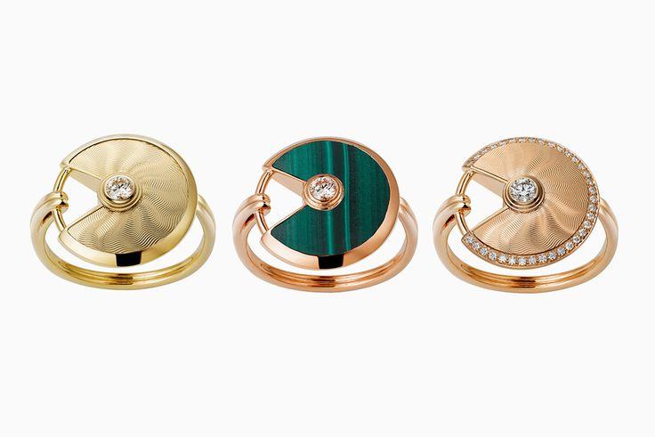 Кольца из желтого и розового золота. С бриллиантами и гильошированием или малахитом