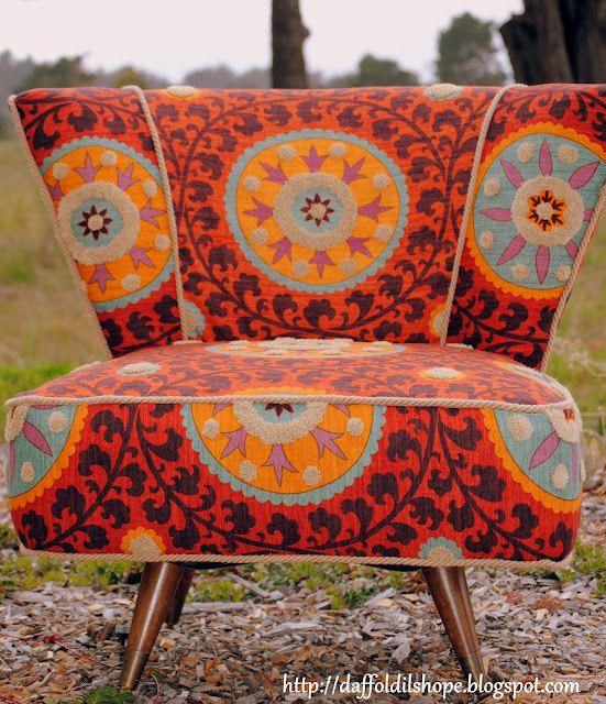 Dying for this. Restored Mid Century Swivel Slipper Chair, reupholstered in Tribal- Sunset.: Tribal Sunsets, European Design, Century Slippers, Chairs Upholstery Ideas, Fabrics, Reupholst Slippers Chairs, Reupholst Chairs, Chairs Design, Custom Reupholst
