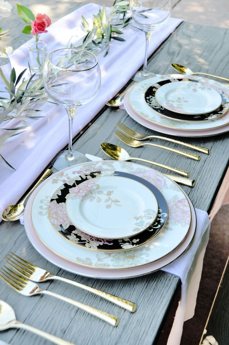 How to style Marchesa by Lenox Painted Camellia Dinnerware and Imperial Caviar flatware, pink black white table setting, gold flatware, floral table setting, outdoor table, pink and grey, alfresco entertaining,easter entertaining, easter table bridal shower