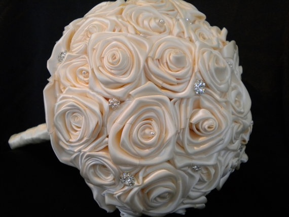 CLEARANCE  Satin Ivory Rose Bridal Bouquet   by AdornedByDana, $99.00