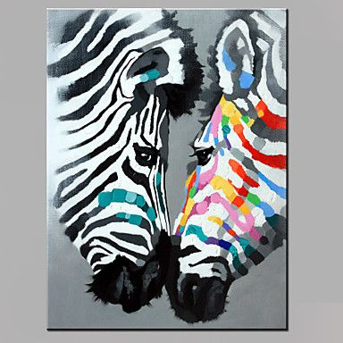 Single Modern Abstract Pure Hand Draw Ready To Hang Decorative Oil Painting Couples The Zebra 2016 - $37.99