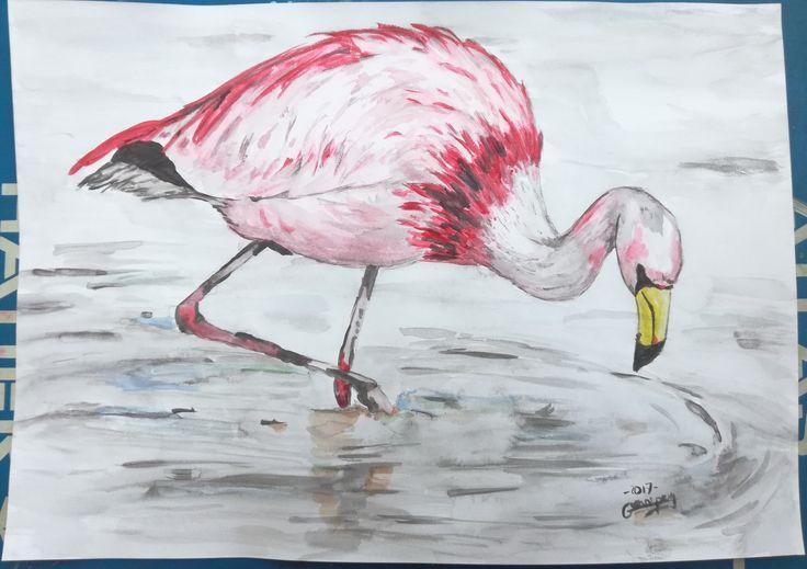 """Dessin Peinture aquarelle sur papier par G.Vanspey format A4 aniaml sauvage """"flament rose"""" de la boutique vanspeygalleryart sur Etsy"""
