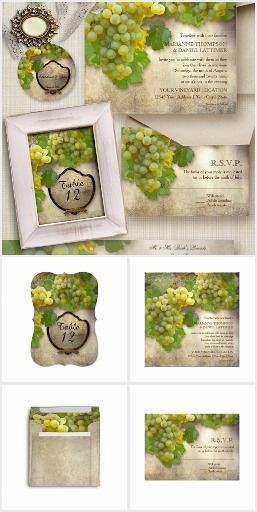 Chardonnay Wine Grapes Invitation Suite.  A beautifully hand painted image by Audrey Jeanne is designed into a wonderful summer or winter wine, winery or vineyard themed wedding invitation set. Chardonnay, white wine grapes hanging from the vine in a vineyard.  #ad