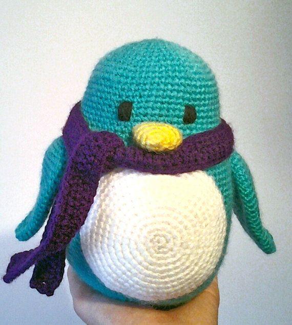 Crochet colorful penguins