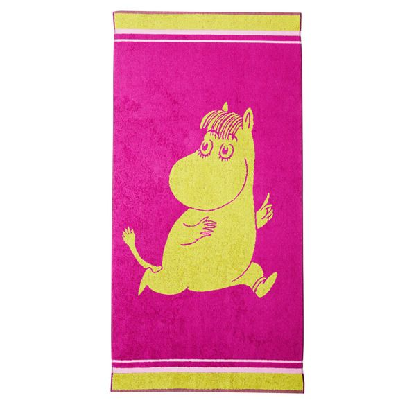 Sparkly fuchsia and interesting lime colored towel that features Snorkmaiden. Takes your bath moments to a more energetic level, it might just make you smile. The Moomin-towels are inspired by Tove Jansson's original drawings and are authentic ©Moomin Characters™ licensed products.