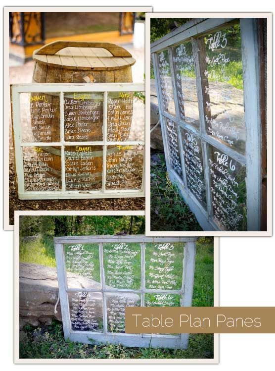 wedding table assignments on windows from One Fab Day- cut idea, can use it for something else too.