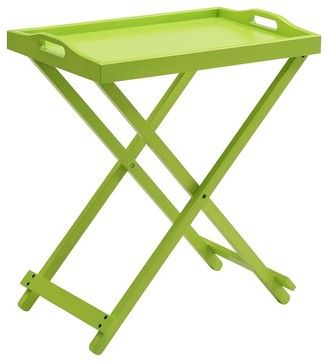 Folding Tray Table in Green transitional-tv-trays