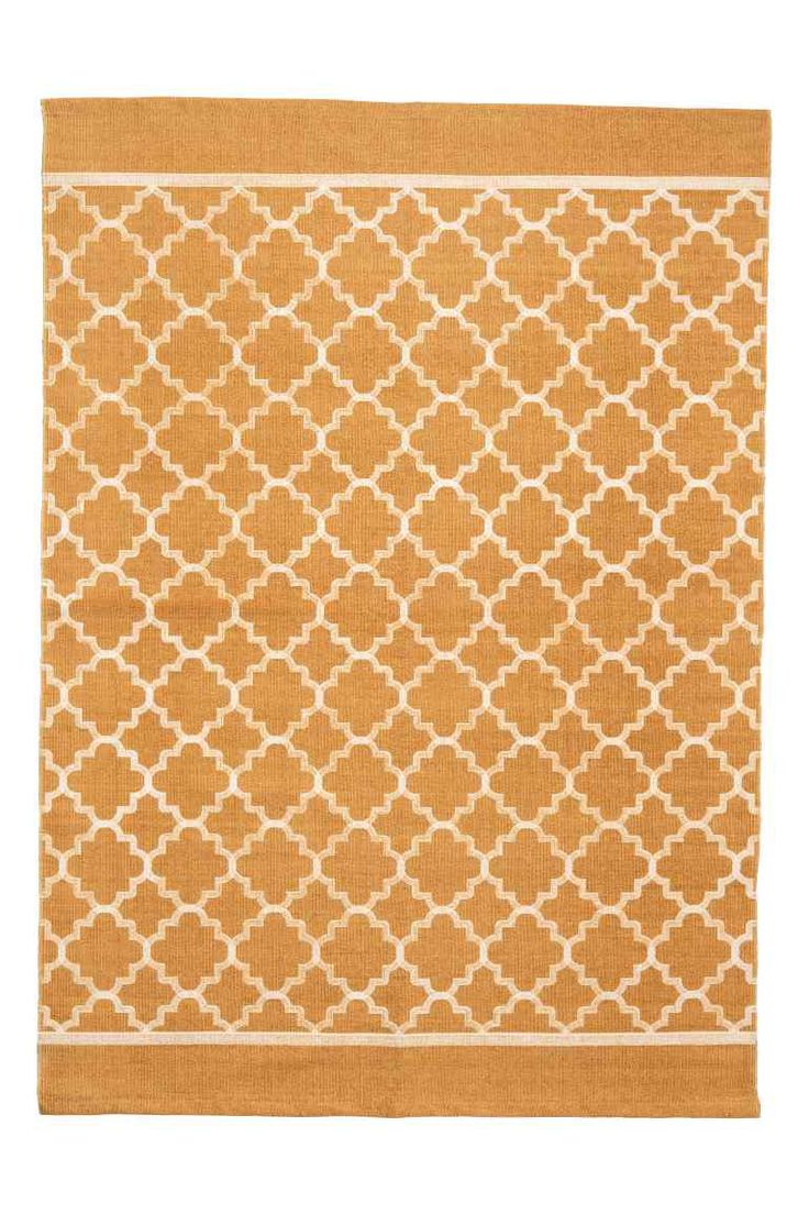 Tapis à motif en coton - Jaune moutarde - Home All   H&M FR 1
