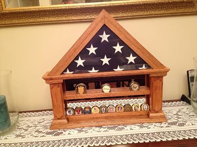 Coin Holder Flag Display With Mirrored Back Wood