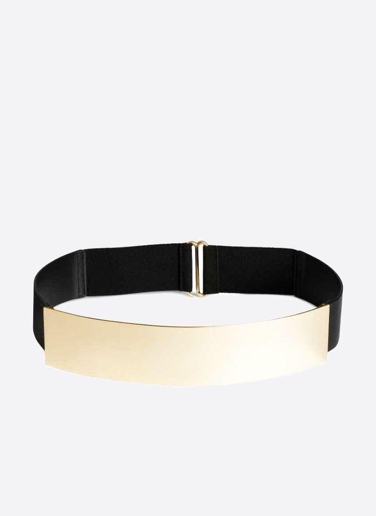 PASEK METALOWY MIRROR GOLD CZARNY I BELT BLACK GOLD MIRRORED I  MONASHE.PL - Sklep online z modną odzieżą. Bluzki, sukienki, torebki, obuwie, akcesoria.