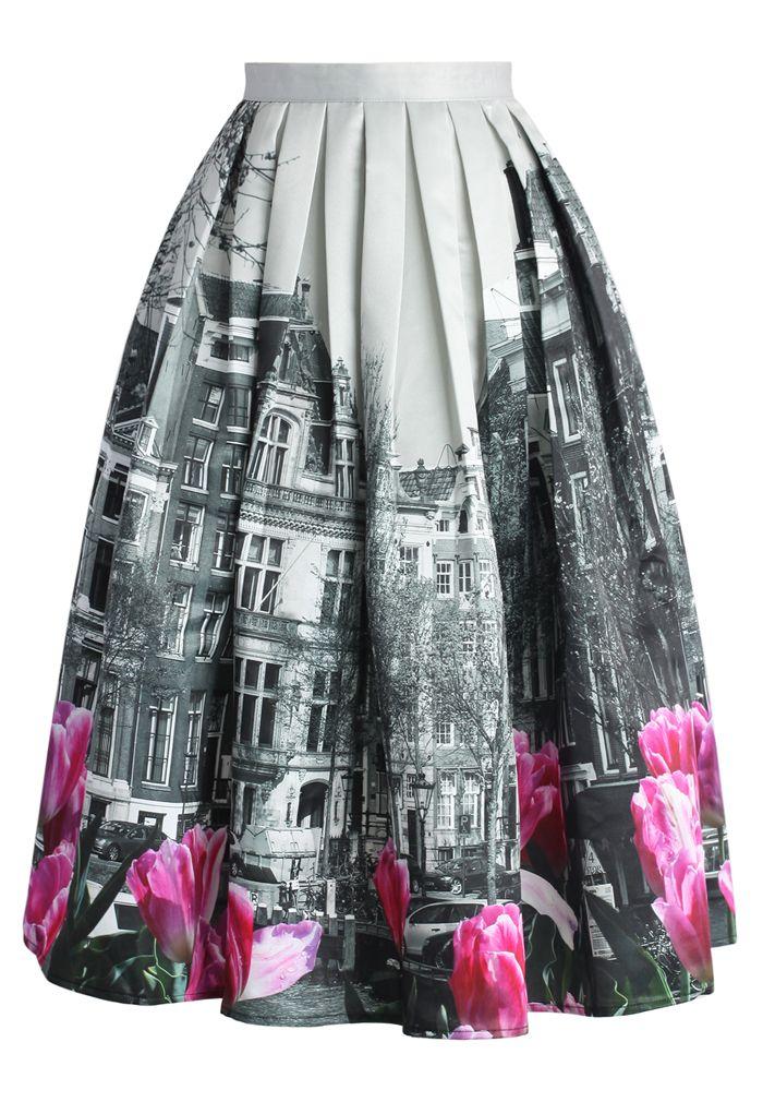 la falda gris rosada,blanca