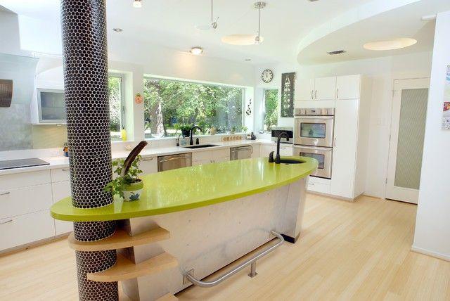 Kitchen bar wood table chair wall design white modern luxurious green