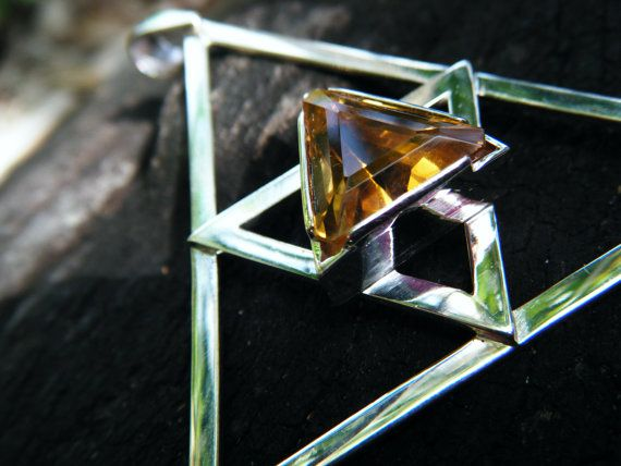 CITRINE STATEMENT PENDANT  Geometric gemset silver by ExquisiteGem