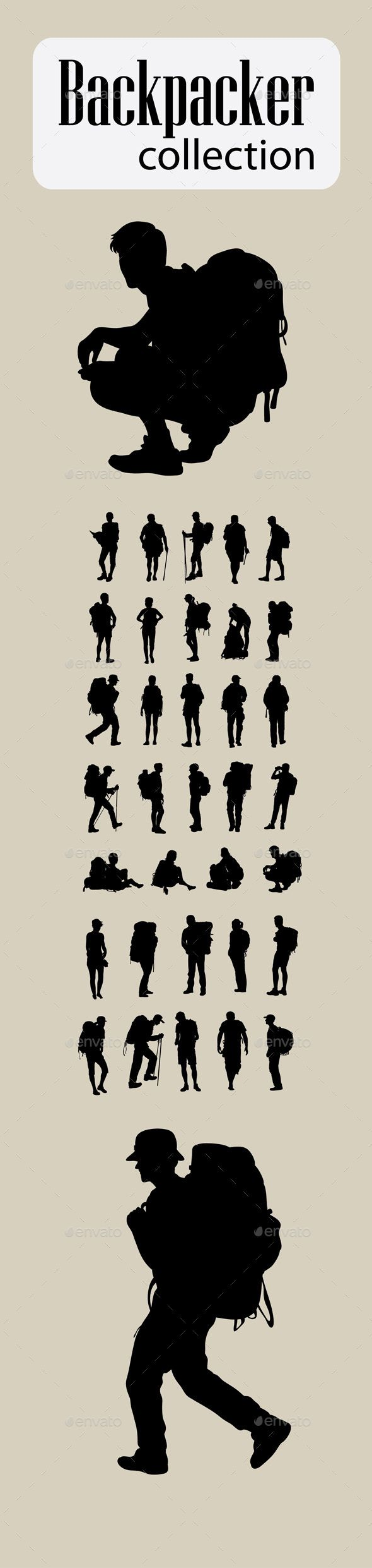 #Backpacker Silhouettes - #Travel #Conceptual #nature #mountain #sport