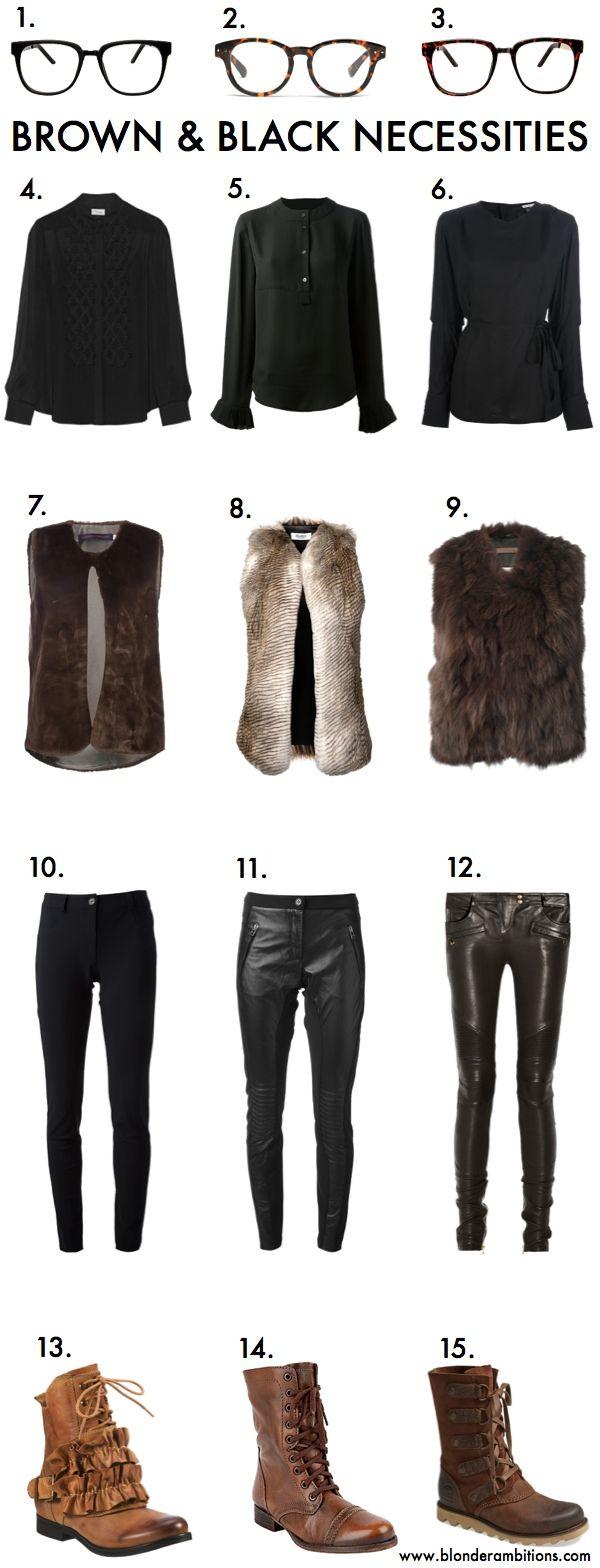 BLONDER AMBITIONS   BROWN & BLACK. fashion. fashion blog. style. lifestyle. faux fur. fur vest. leopard pants. lace up boots. geek glasses. spike necklace. blonde.