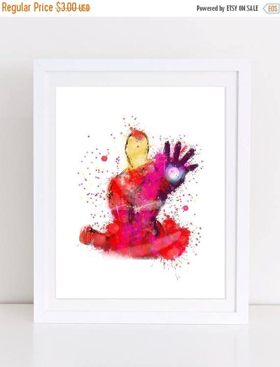 60%OFF Iron Man Poster Watercolor Avengers Poster Iron Man