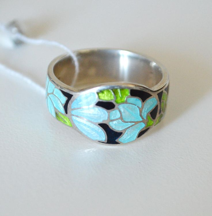 Ring Sterling Silver Hot Enamel blue flowers clematis bouquet hand enameled russian jewelry original design pastel colorc pale blue purple by AnnaWeissArt on Etsy