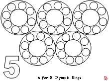 Оцветяване. Олимпийски символ. Олимпийци. Подходящо за първи клас, предучилищна група.