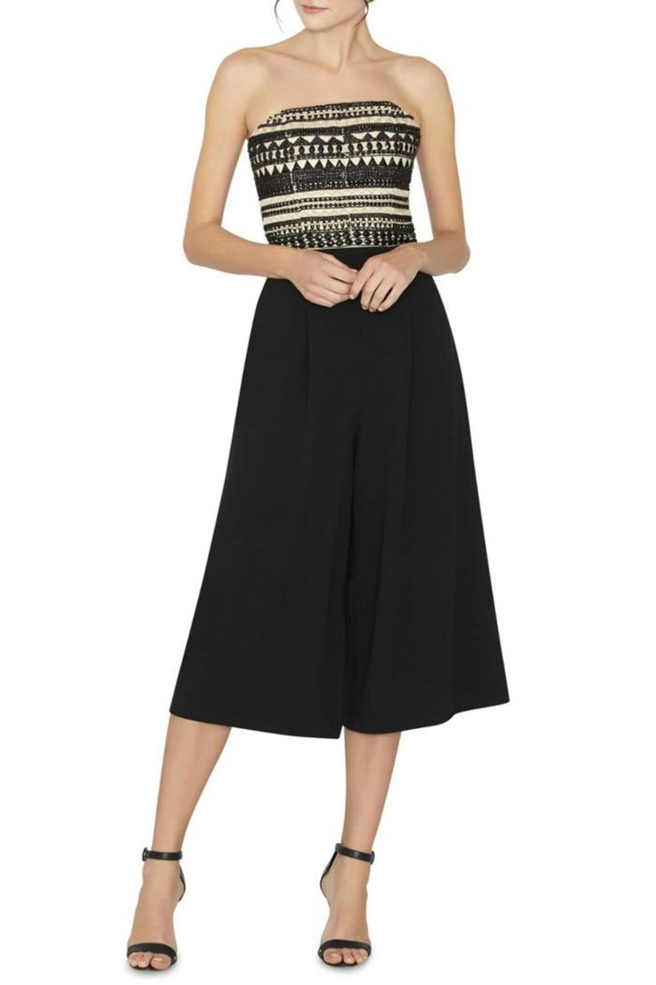 """This stunning jumpsuit features a beaded bodice, side pockets, concealed back zipper, and a tailored silhouette. Lined. Dry clean.    Measurements: About 19"""" from natural waist.   Emberly Embellished Jumpsuit by Alice + Olivia. Clothing - Jumpsuits & Rompers - Jumpsuits Canada"""