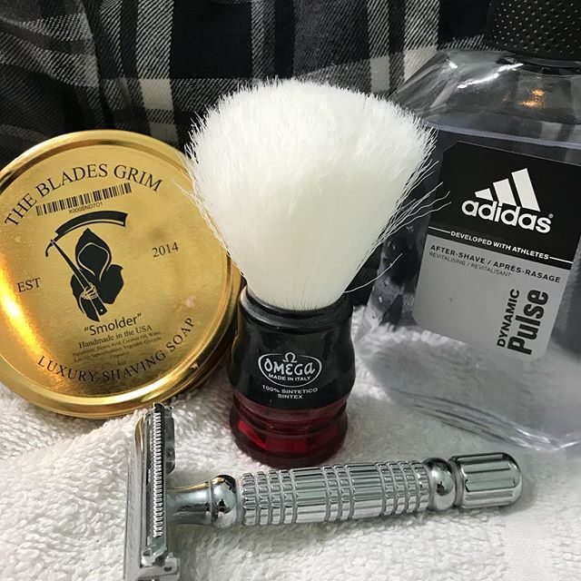 Late Post Of Last Shave Of The Day The Blades Grim Smolder Shaving Soap Omega Synthetic Shaving Brush Bigfoot Shaving Soap Wet Shaving Traditional Shaving