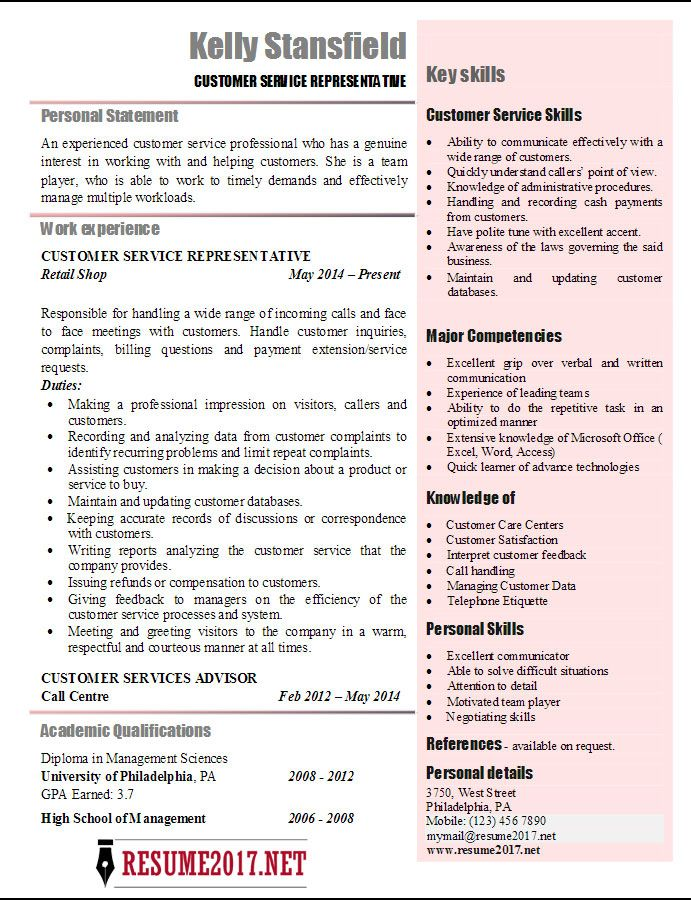 resume examples 2017 customer service resume pinterest resume