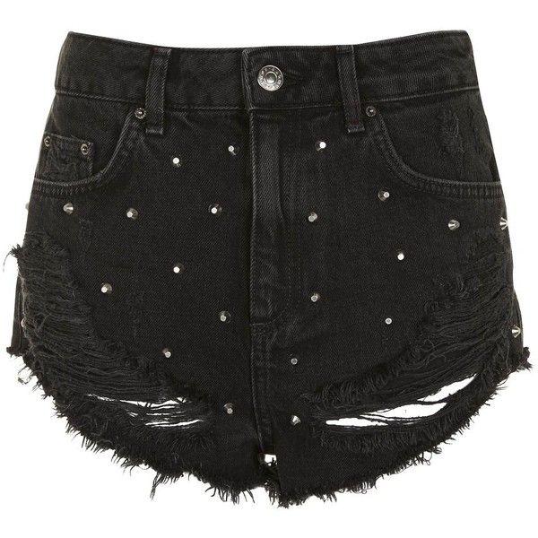 Topshop Moto Kiri Stud Shorts ($44) ❤ liked on Polyvore featuring shorts, high waisted destroyed shorts, highwaist shorts, torn shorts, distressed shorts and punk shorts