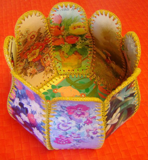 Vintage Card Basket  made from Greeting by snowflakeoneyelashes,
