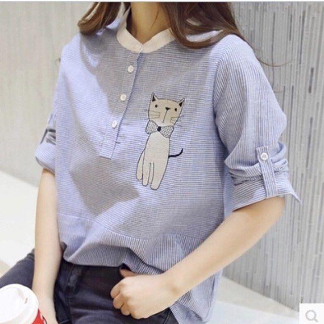 Yeni cici  bobby mavi beyaz çizgili kedi işlemeli koton gömlek -- 69 tl  M beden mevcuttur  Hemen teslimdir İletişim için:05336635021 Elfindizayn@gmail.com