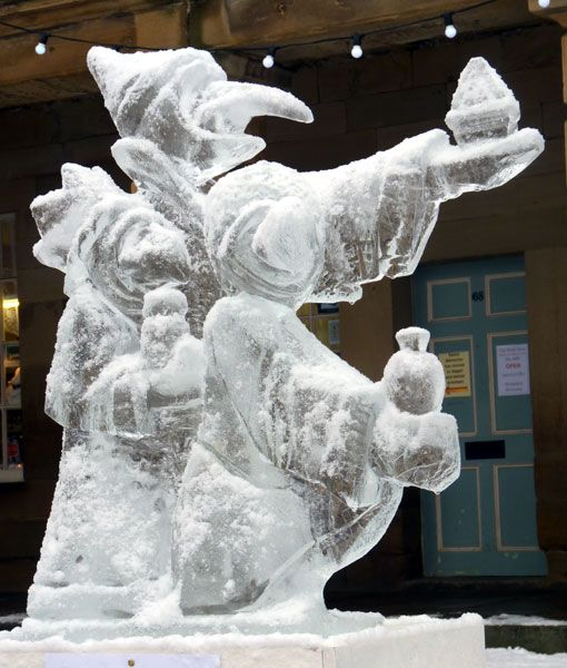 The david statue ice sculpture peeing vodka