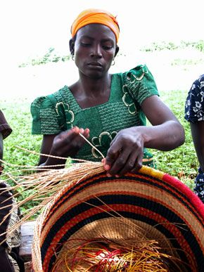 Handcrafted Bolga baskets and the remarkable artisans who weave them in Ghana.