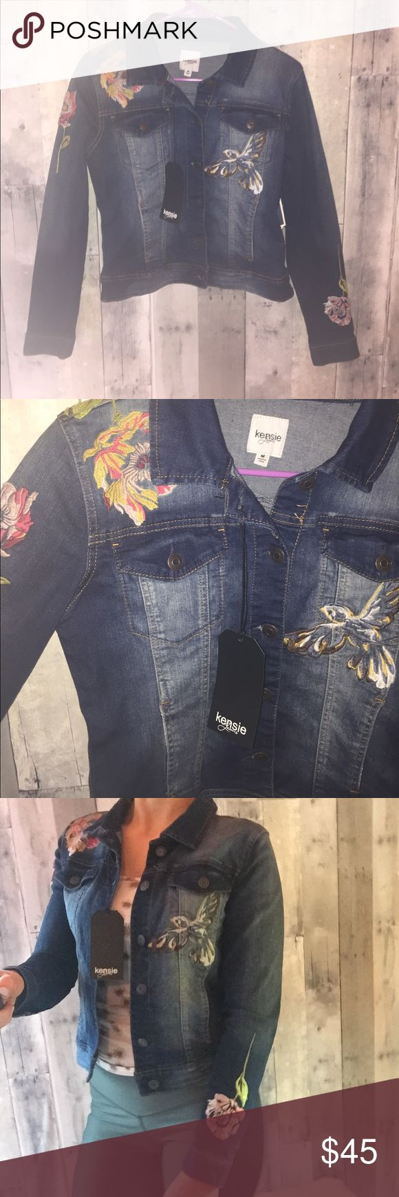 NWT Kensie Jeans brand embroidered denim jacket Gorgeous embroidered jean jacket perfect for fall! In perfect condition and the quality of this piece is amazing. The material is very comfortable and it fits like a true medium. Offers always welcome! :) Jackets & Coats Jean Jackets