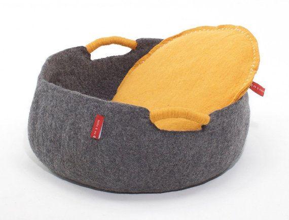 Bio & luxe moderne Circo corbeille lit pour chien, Pierre gris ou couleur glace lits pour animaux de compagnie