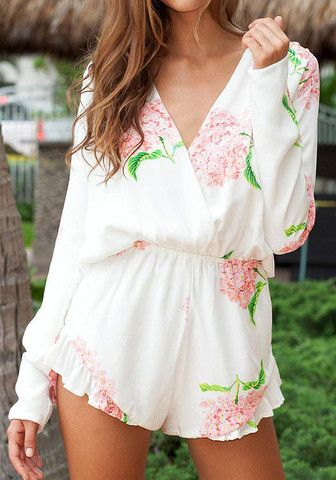 Floral Long Sleeves Romper