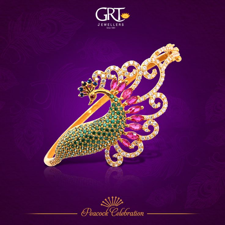 Presenting a #hand-picked #collection celebrating the most beautiful of #birds, known for its regal splendor and mesmerizing beauty... Behold, the splendid #peacock! - #Gold #Bracelet #Collections