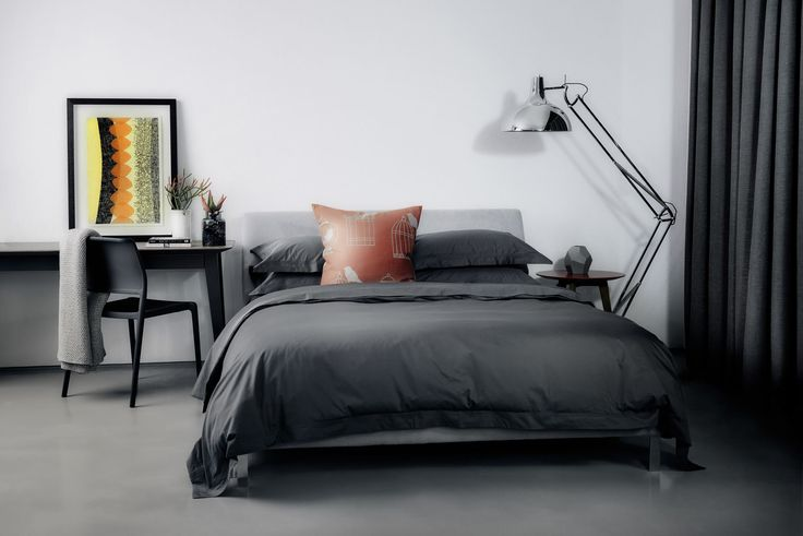 What do you think of this fabulous charcoal bedroom?