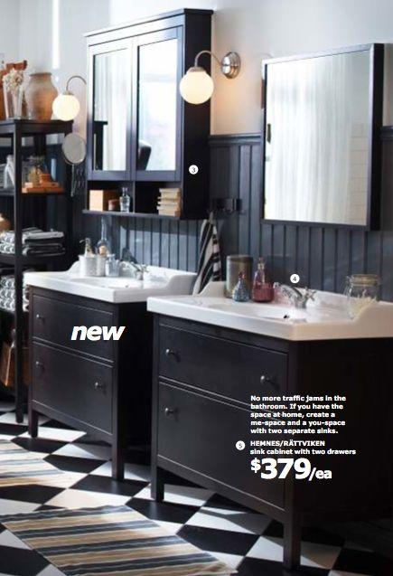 Checkered flooring in bathrooms w/ white Hemnes cabinets & light walls