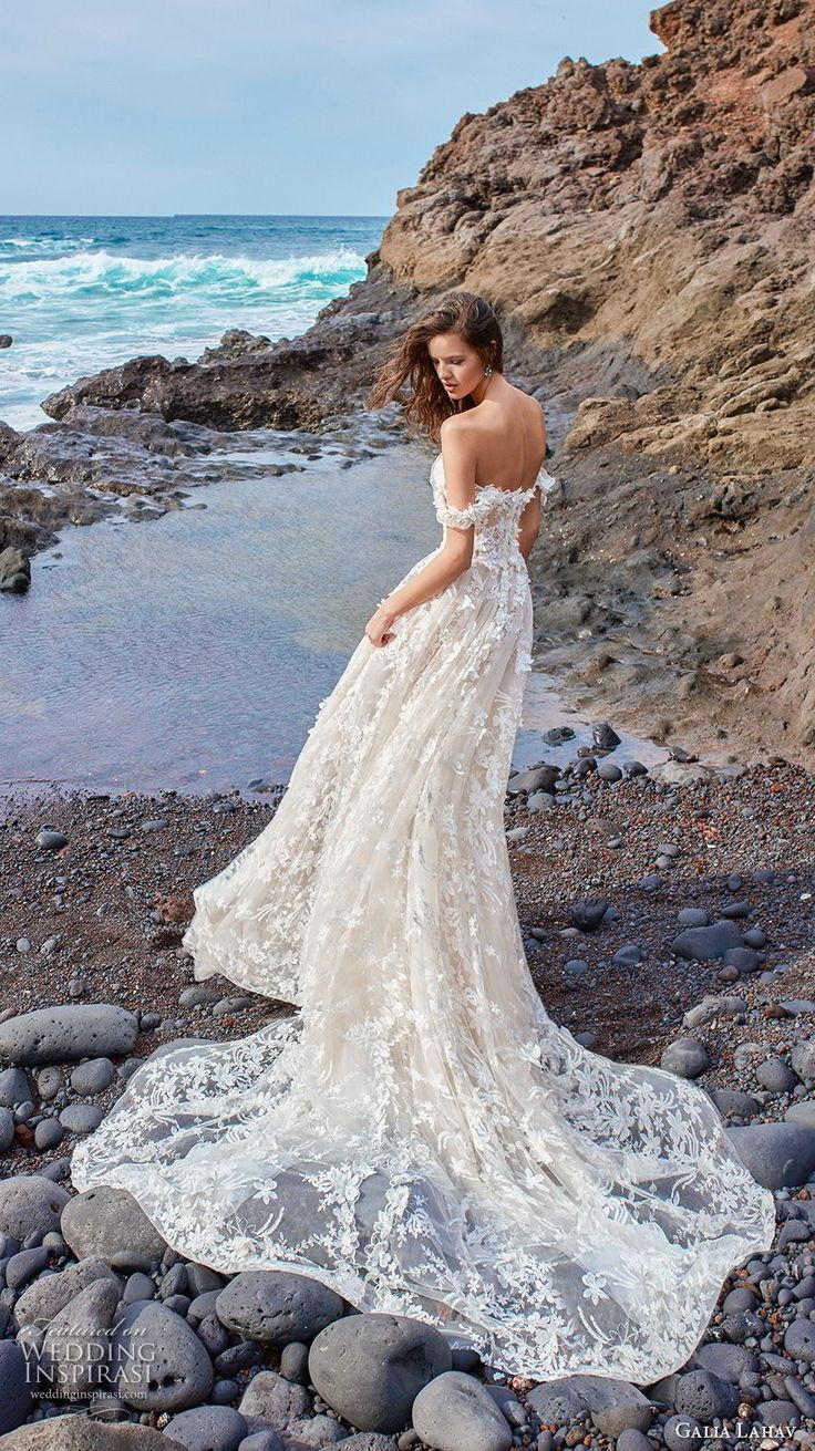 galia lahav gala 2018 bridal off the shoulder sweetheart neckline full embellishment romantic a line wedding dress chapel train (2) bv