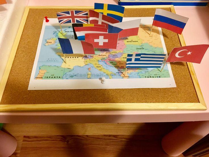 Montessori Kozmik alan çalışması  Kıtaları ve ülkelerin bayraklarını tanıyorum   Çiğdem öğretmen