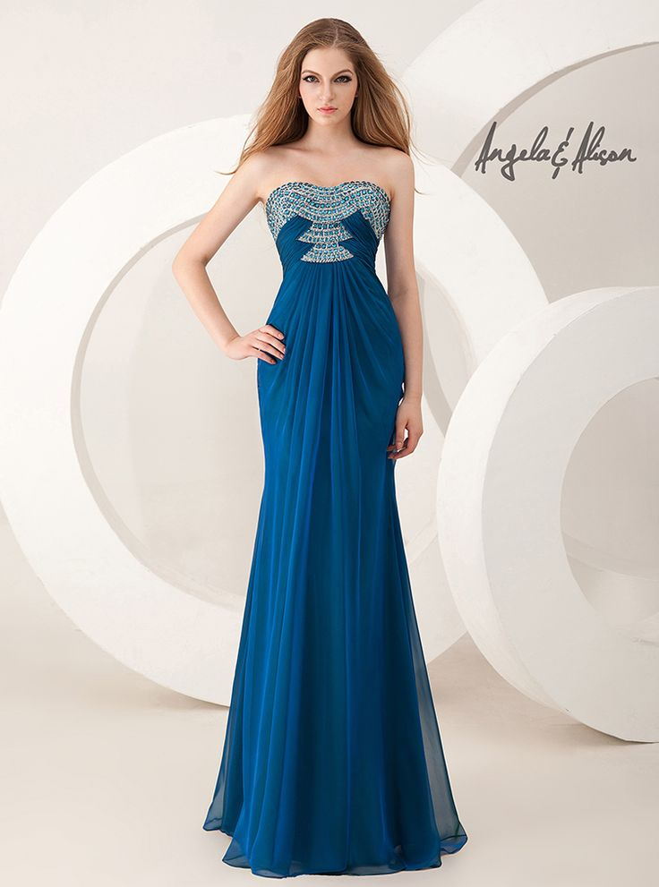 Style 41026 Sweetheart neckline with detailed beading, flowing chiffon skirt. Perfect for Prom, Homecoming, Gala, Wedding, Formal, Graduation, Ball... etc.
